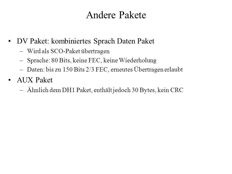 Andere Pakete DV Paket: kombiniertes Sprach Daten Paket –Wird als SCO-Paket übertragen –Sprache: 80 Bits, keine FEC, keine Wiederholung –Daten: bis zu