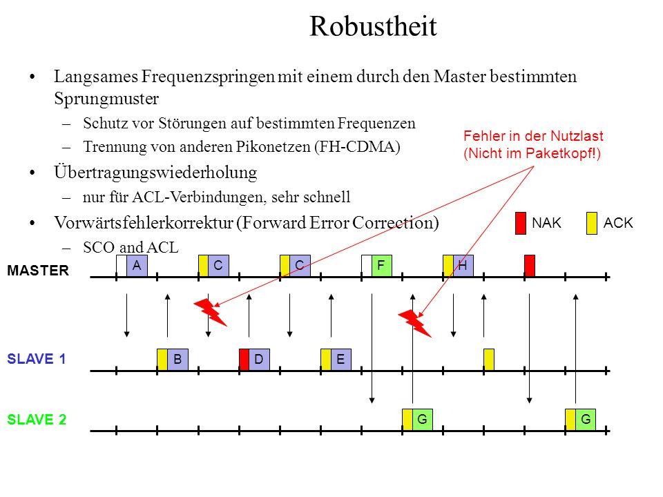 Robustheit Langsames Frequenzspringen mit einem durch den Master bestimmten Sprungmuster –Schutz vor Störungen auf bestimmten Frequenzen –Trennung von