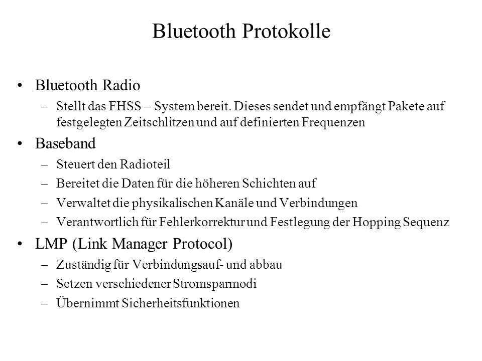 Bluetooth Protokolle Bluetooth Radio –Stellt das FHSS – System bereit. Dieses sendet und empfängt Pakete auf festgelegten Zeitschlitzen und auf defini