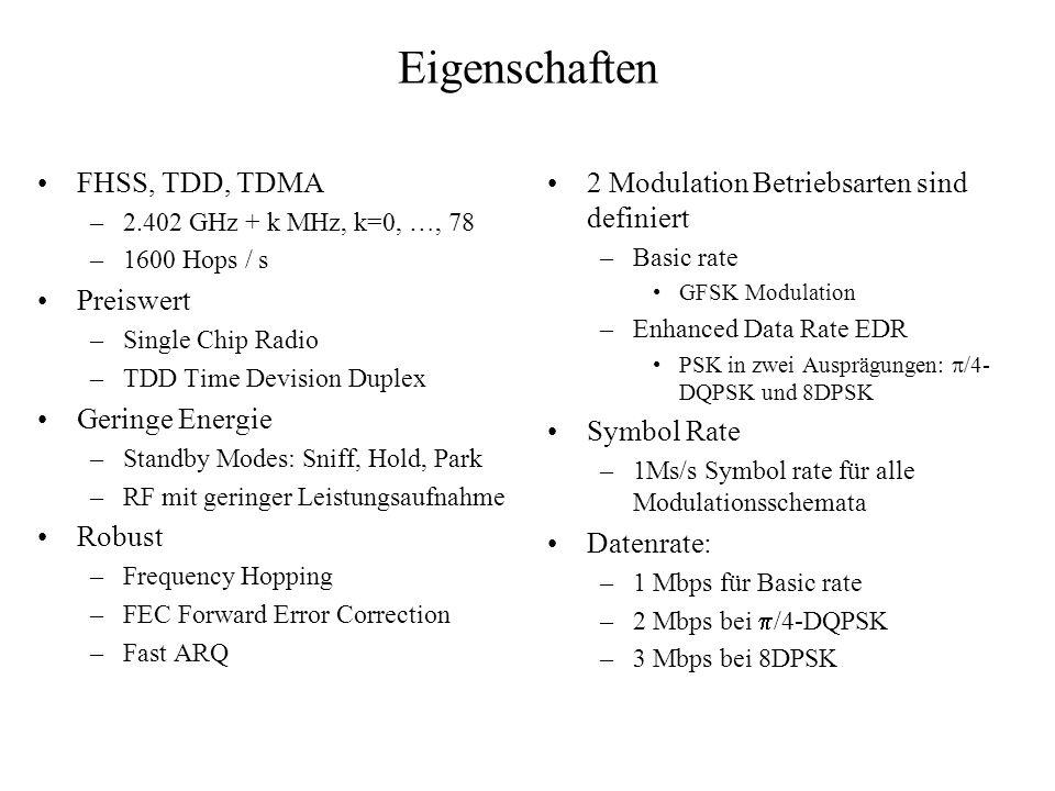 Eigenschaften FHSS, TDD, TDMA –2.402 GHz + k MHz, k=0, …, 78 –1600 Hops / s Preiswert –Single Chip Radio –TDD Time Devision Duplex Geringe Energie –St