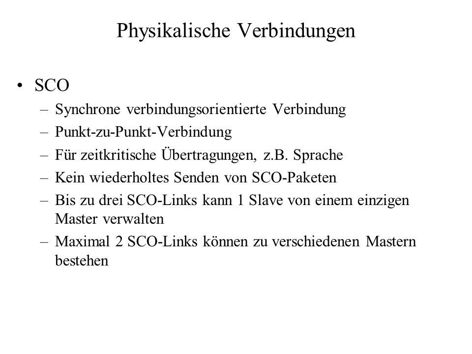 Physikalische Verbindungen SCO –Synchrone verbindungsorientierte Verbindung –Punkt-zu-Punkt-Verbindung –Für zeitkritische Übertragungen, z.B. Sprache
