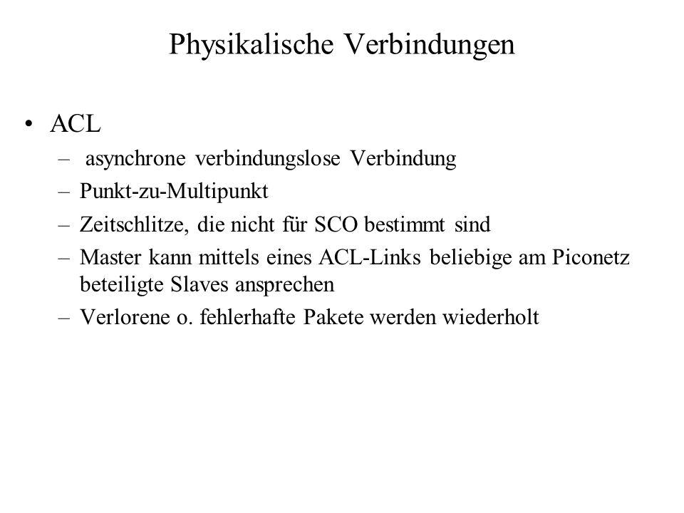 Physikalische Verbindungen ACL – asynchrone verbindungslose Verbindung –Punkt-zu-Multipunkt –Zeitschlitze, die nicht für SCO bestimmt sind –Master kan