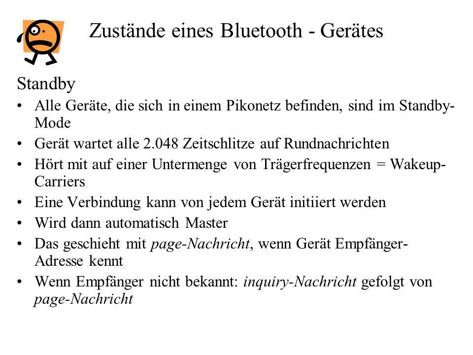 Zustände eines Bluetooth - Gerätes Standby Alle Geräte, die sich in einem Pikonetz befinden, sind im Standby- Mode Gerät wartet alle 2.048 Zeitschlitz
