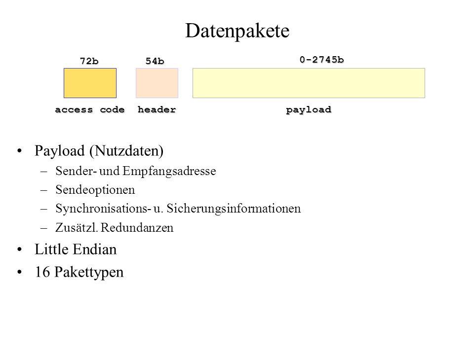 Datenpakete Payload (Nutzdaten) –Sender- und Empfangsadresse –Sendeoptionen –Synchronisations- u. Sicherungsinformationen –Zusätzl. Redundanzen Little