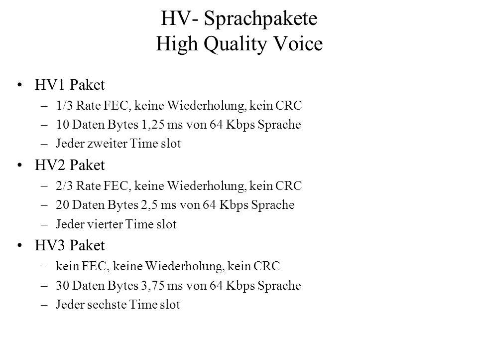 HV- Sprachpakete High Quality Voice HV1 Paket –1/3 Rate FEC, keine Wiederholung, kein CRC –10 Daten Bytes 1,25 ms von 64 Kbps Sprache –Jeder zweiter T