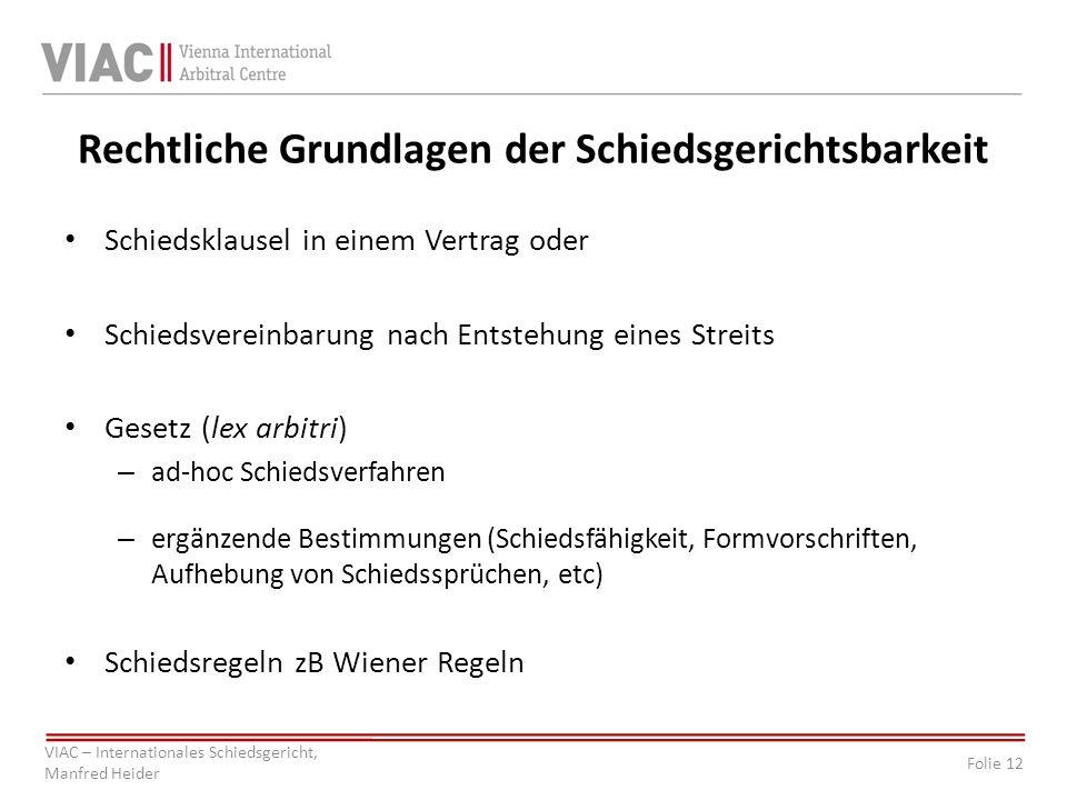 Folie 12 VIAC – Internationales Schiedsgericht, Manfred Heider Rechtliche Grundlagen der Schiedsgerichtsbarkeit Schiedsklausel in einem Vertrag oder S