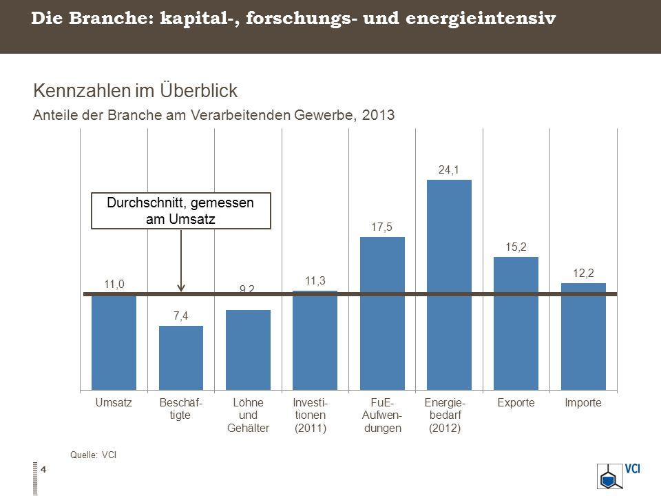 Die Branche: kapital-, forschungs- und energieintensiv Kennzahlen im Überblick Anteile der Branche am Verarbeitenden Gewerbe, 2013 Quelle: VCI 4
