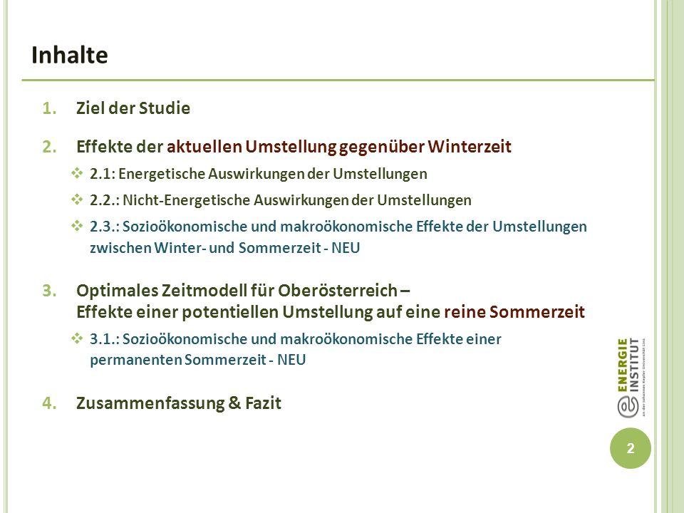 13 Tabelle 4: Zusammensetzung des gesamten oberösterreichischen Wohlfahrtseffekts durch Wechsel vom aktuelle Zeitregime auf permanente Sommerzeit Makroökonomische Effekte permanenter Sommerzeit BIP in OÖ 8,0 Mio.
