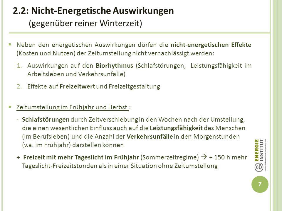 8  Quantifizierung von Effekten auf den Biorhythmus und das Freizeitverhalten durch die Zeitumstellung (Frühjahr und Herbst) in Oberösterreich  Erhöhte Kosten durch Schlafstörungen (inkl.