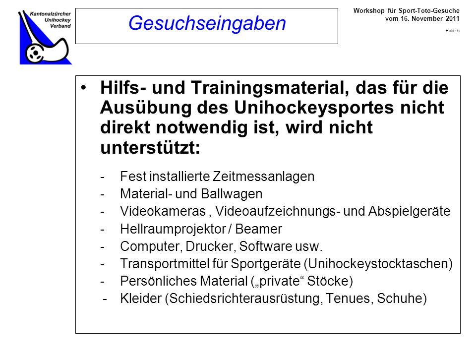 Workshop für Sport-Toto-Gesuche vom 16.