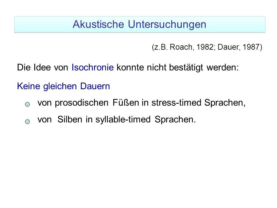 (z.B. Roach, 1982; Dauer, 1987) Die Idee von Isochronie konnte nicht bestätigt werden: Keine gleichen Dauern von prosodischen Füßen in stress-timed Sp