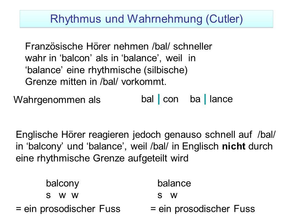 Französische Hörer nehmen /bal/ schneller wahr in 'balcon' als in 'balance', weil in 'balance' eine rhythmische (silbische) Grenze mitten in /bal/ vor