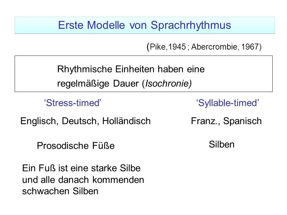 ( Pike,1945 ; Abercrombie, 1967) Ein Fuß ist eine starke Silbe und alle danach kommenden schwachen Silben Rhythmische Einheiten haben eine regelmäßige