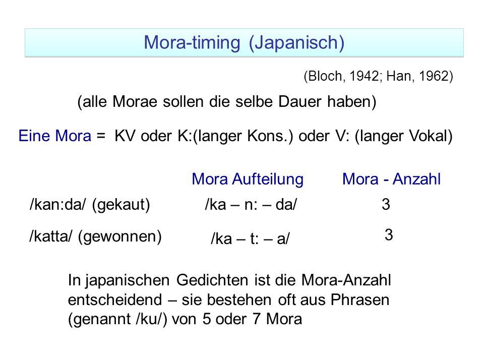 Eine Mora = KV oder K:(langer Kons.) oder V: (langer Vokal) Mora - Anzahl /kan:da/ (gekaut)/ka – n: – da/3 /katta/ (gewonnen) /ka – t: – a/ 3 Mora Auf