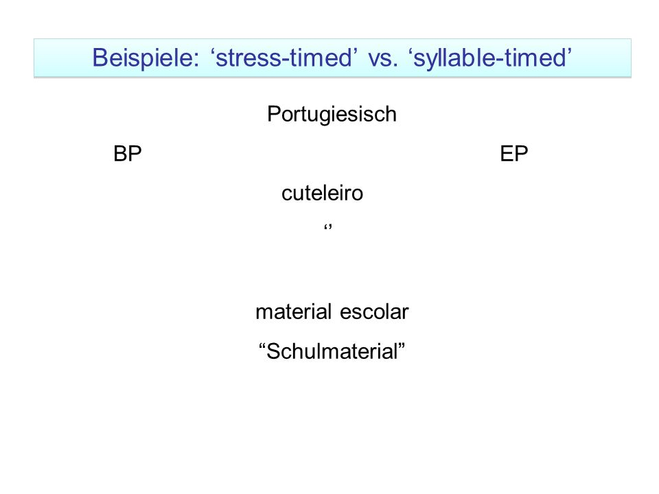 "Beispiele: 'stress-timed' vs. 'syllable-timed' Portugiesisch BP EP cuteleiro '' material escolar ""Schulmaterial"""
