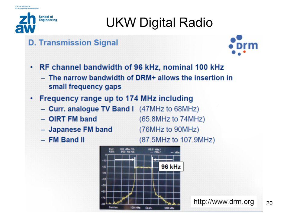19 UKW FM-Radio BW = 180 kHz (Carson's rule) Deviation= 75 kHz Max Mod. Freq: 15 kHz Weltweit wird UKW-Rundfunk im VHF-Band II zwischen 87,5 MHz und 1