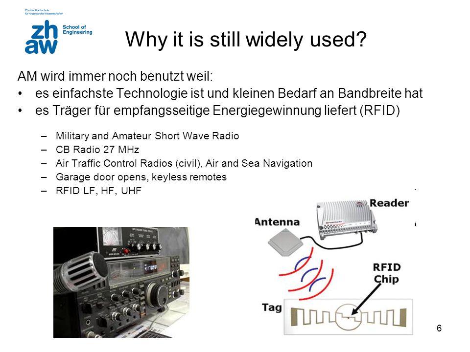 5 AM power efficiency Bei maximaler Modulation macht die Leistung in den Seitenbändern zusammen nur etwa 33% der abgestrahlten Leistung aus. Bandbreit