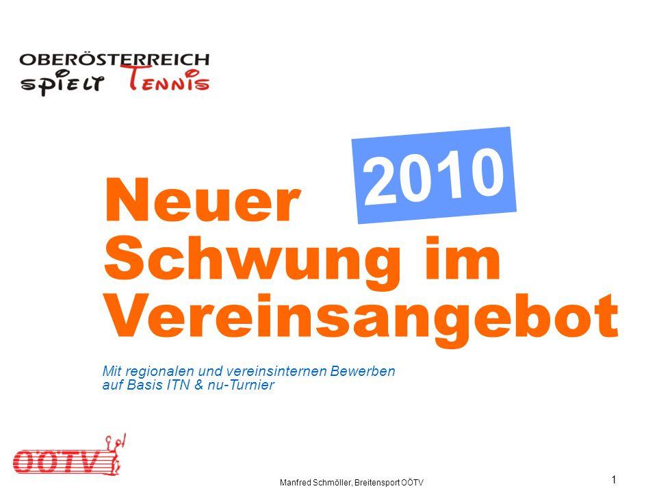 Manfred Schmöller, Breitensport OÖTV 1 Neuer Schwung im Vereinsangebot Mit regionalen und vereinsinternen Bewerben auf Basis ITN & nu-Turnier 2010