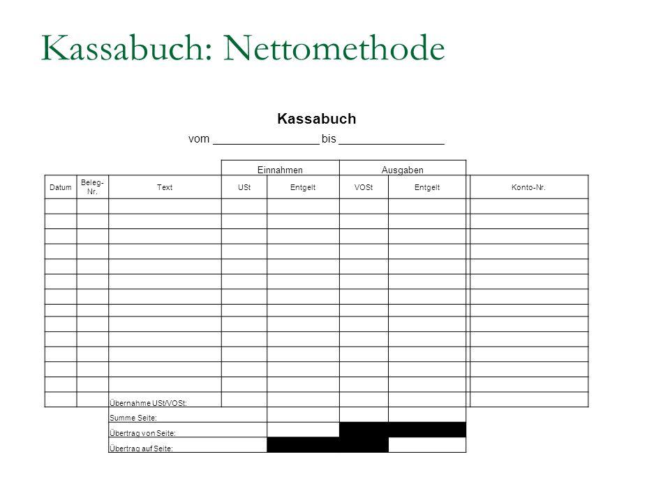 Kassabuch: Nettomethode Kassabuch vom _________________ bis _________________ EinnahmenAusgaben Datum Beleg- Nr. TextUStEntgeltVOStEntgelt Konto-Nr. Ü