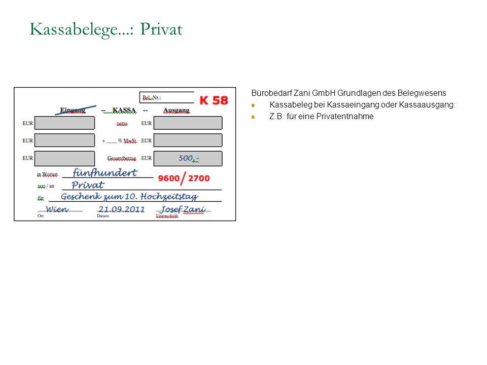 Kassabelege...: Privat Bürobedarf Zani GmbH Grundlagen des Belegwesens Kassabeleg bei Kassaeingang oder Kassaausgang: Z.B. für eine Privatentnahme