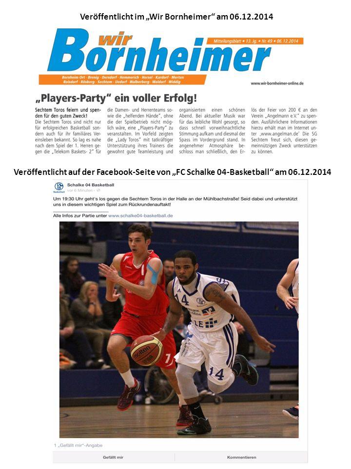"""Veröffentlicht im """"Wir Bornheimer am 06.12.2014 Veröffentlicht auf der Facebook-Seite von """"FC Schalke 04-Basketball am 06.12.2014"""
