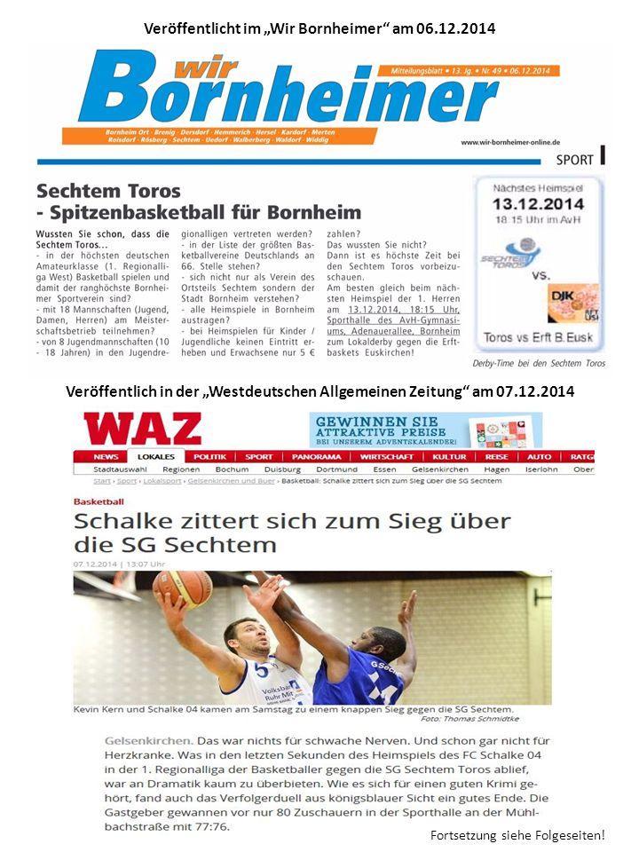 """Veröffentlicht im """"Wir Bornheimer am 06.12.2014 Veröffentlich in der """"Westdeutschen Allgemeinen Zeitung am 07.12.2014 Fortsetzung siehe Folgeseiten!"""