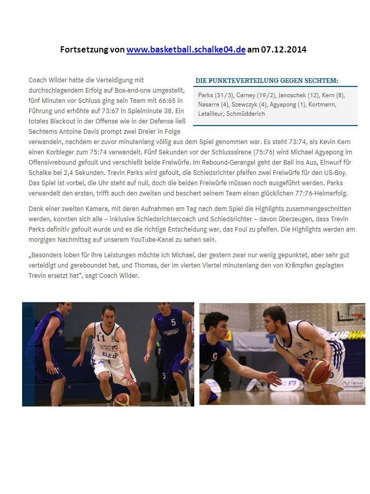 Fortsetzung von www.basketball.schalke04.de am 07.12.2014www.basketball.schalke04.de