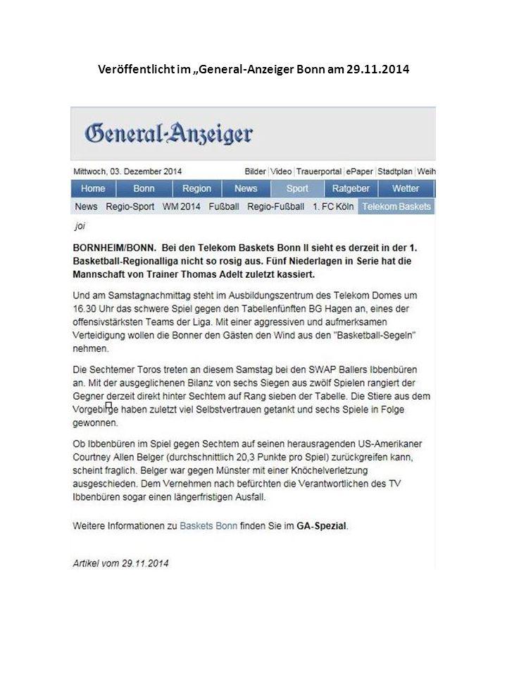 """Veröffentlicht im """"Schaufenster Bonn – Ausgabe Beuel am 25.11.2014 Veröffentlicht im """"Brühler Schlossbote am 10.12.2014"""