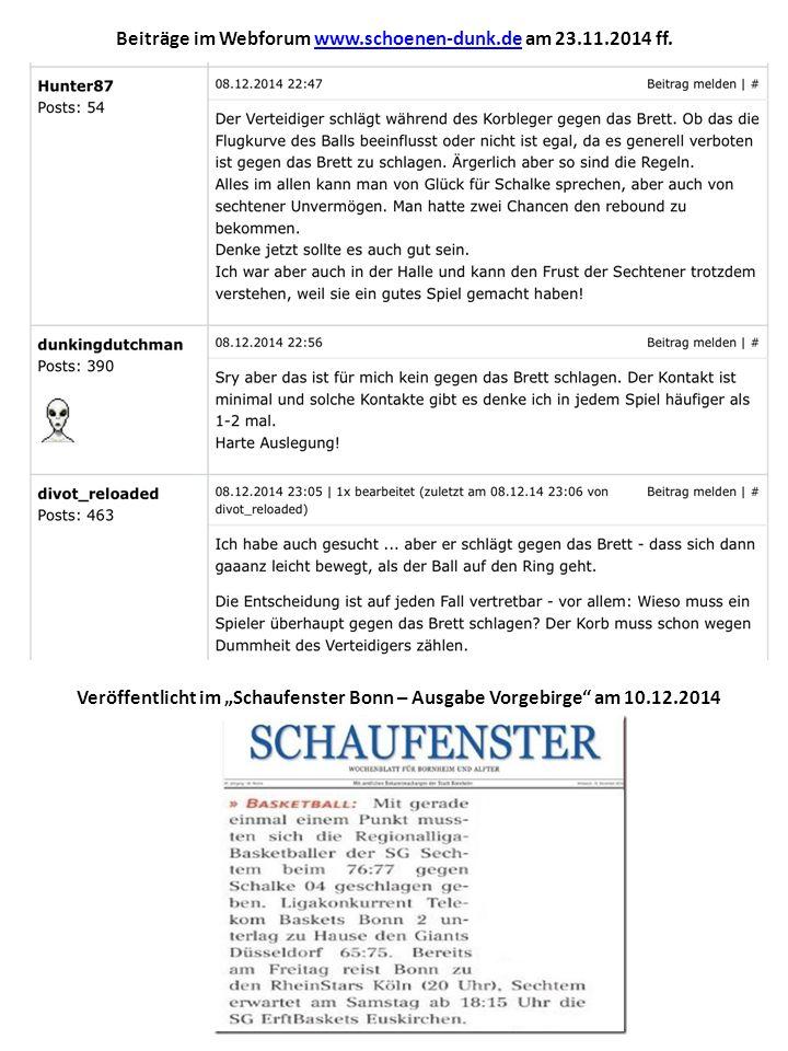 """Beiträge im Webforum www.schoenen-dunk.de am 23.11.2014 ff.www.schoenen-dunk.de Veröffentlicht im """"Schaufenster Bonn – Ausgabe Vorgebirge am 10.12.2014"""