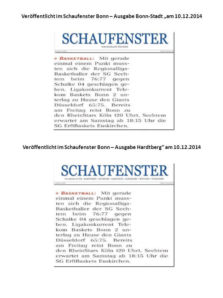 """Veröffentlicht im Schaufenster Bonn – Ausgabe Bonn-Stadt """"am 10.12.2014 Veröffentlicht im Schaufenster Bonn – Ausgabe Hardtberg am 10.12.2014"""