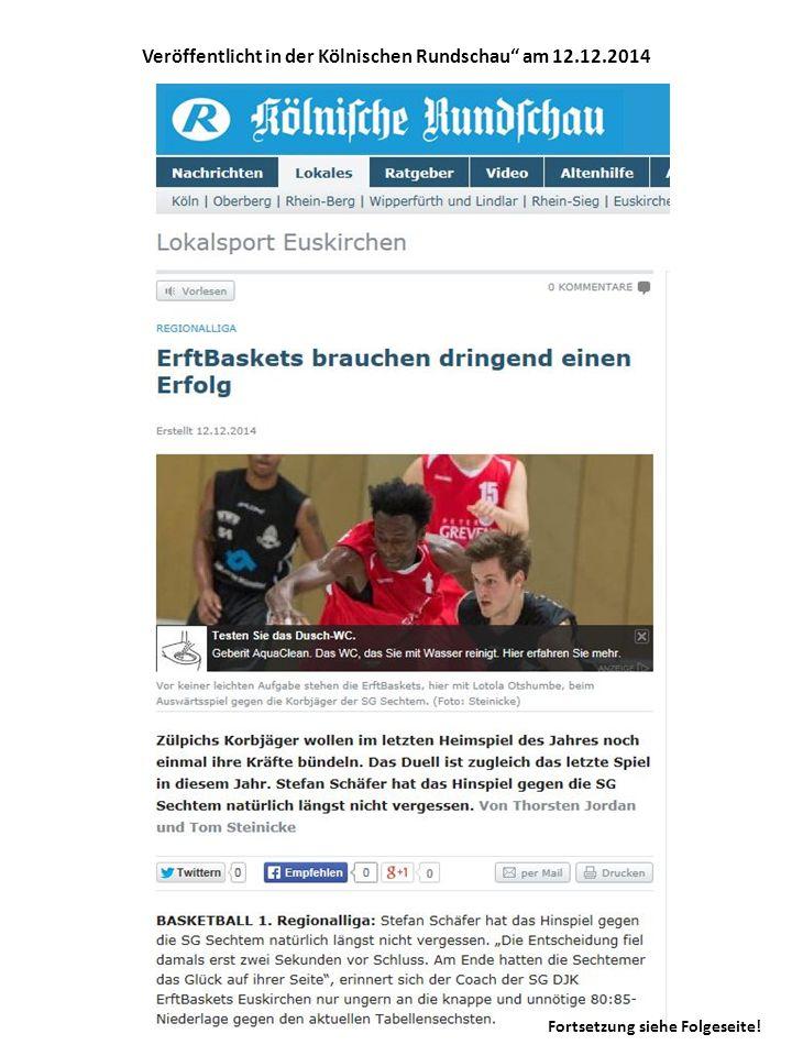 Veröffentlicht in der Kölnischen Rundschau am 12.12.2014 Fortsetzung siehe Folgeseite!