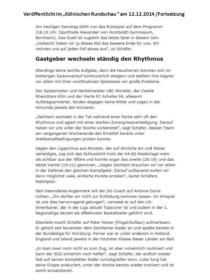"""Veröffentlicht im """"Kölnischen Rundschau am 12.12.2014 /Fortsetzung"""