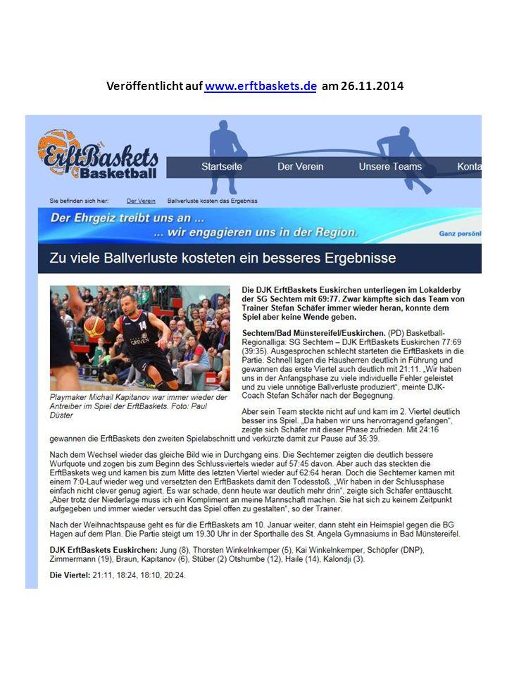 Veröffentlicht auf www.erftbaskets.de am 26.11.2014www.erftbaskets.de
