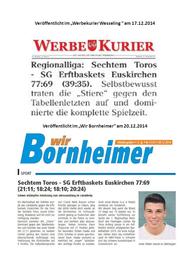 """Veröffentlicht im """"Werbekurier Wesseling am 17.12.2014 Veröffentlicht im """"Wir Bornheimer am 20.12.2014"""
