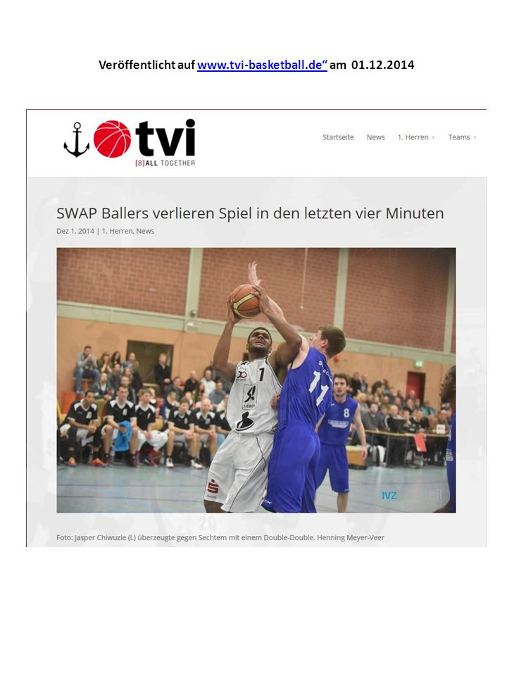 Veröffentlicht auf www.tvi-basketball.de am 01.12.2014www.tvi-basketball.de