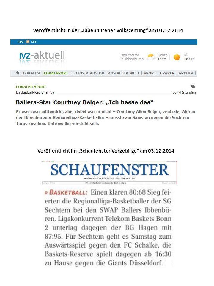 """Veröffentlicht in der """"Ibbenbürener Volkszeitung am 01.12.2014 Veröffentlicht im """"Schaufenster Vorgebirge am 03.12.2014"""