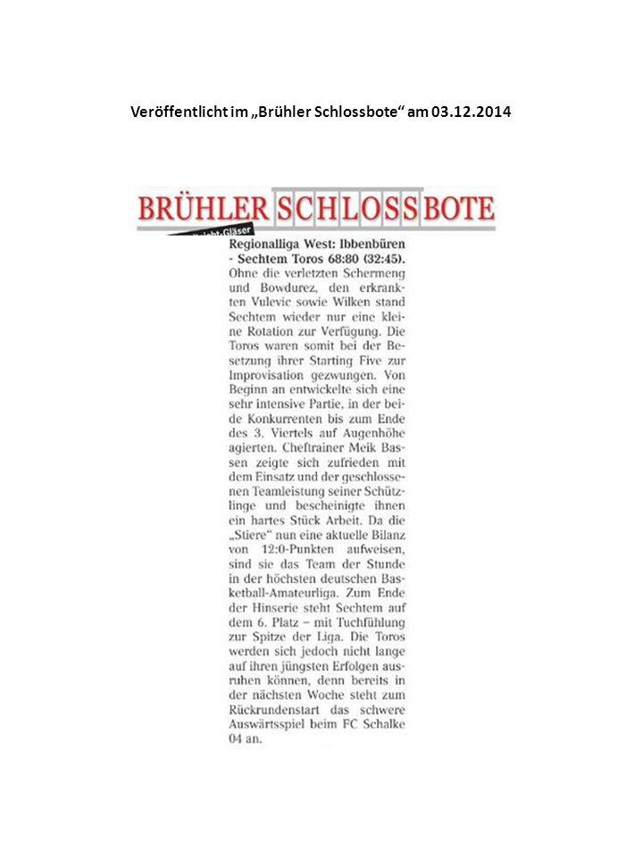 """Veröffentlicht im """"Brühler Schlossbote am 03.12.2014"""