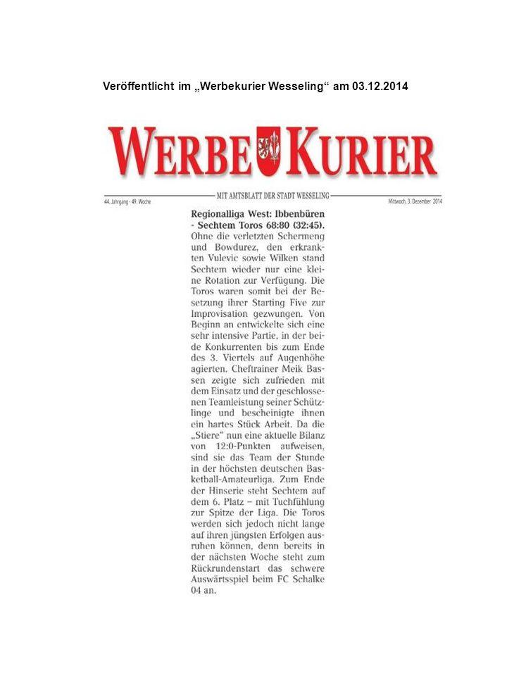 """Veröffentlicht auf der Facebook-Seite von """"FC Schalke 04 –Basketball am 03.12.2014 Veröffentlicht auf der """"Facebook -Seite von """"FC Schalke 04-Basketball am 04.12.2014"""