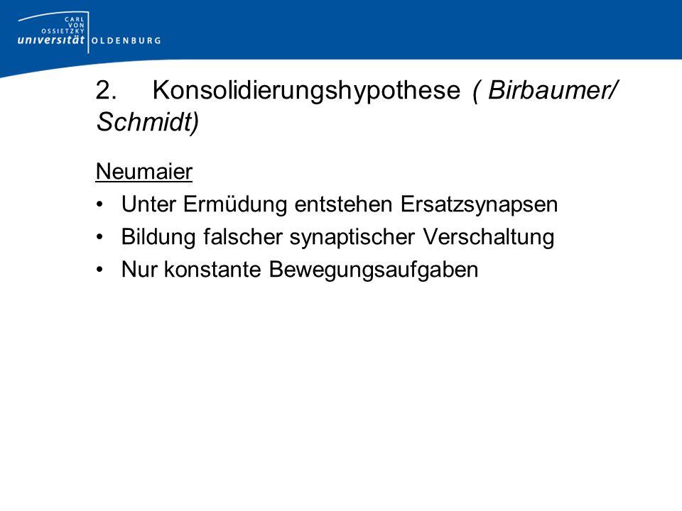 Neumaier Unter Ermüdung entstehen Ersatzsynapsen Bildung falscher synaptischer Verschaltung Nur konstante Bewegungsaufgaben 2.Konsolidierungshypothese ( Birbaumer/ Schmidt)