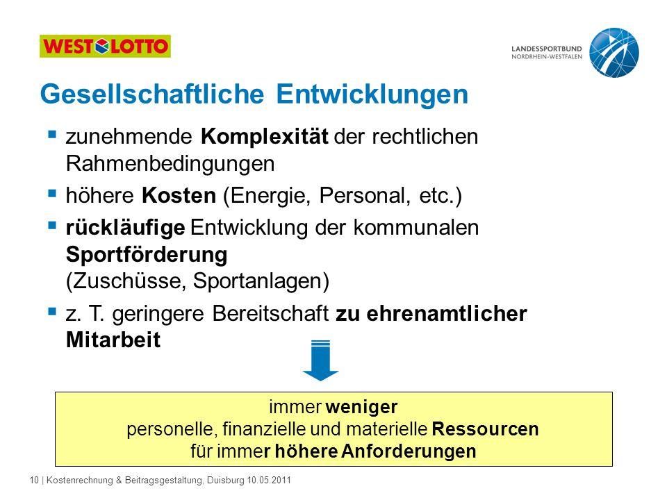 10 | Kostenrechnung & Beitragsgestaltung, Duisburg 10.05.2011 Gesellschaftliche Entwicklungen  zunehmende Komplexität der rechtlichen Rahmenbedingung