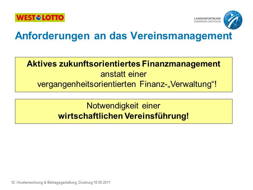 12 | Kostenrechnung & Beitragsgestaltung, Duisburg 10.05.2011 Aktives zukunftsorientiertes Finanzmanagement anstatt einer vergangenheitsorientierten F