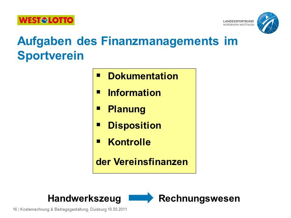 16 | Kostenrechnung & Beitragsgestaltung, Duisburg 10.05.2011  Dokumentation  Information  Planung  Disposition  Kontrolle der Vereinsfinanzen Ha