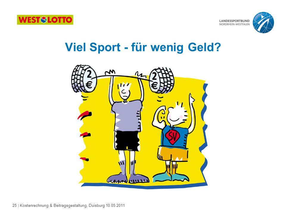 25 | Kostenrechnung & Beitragsgestaltung, Duisburg 10.05.2011 Viel Sport - für wenig Geld? s