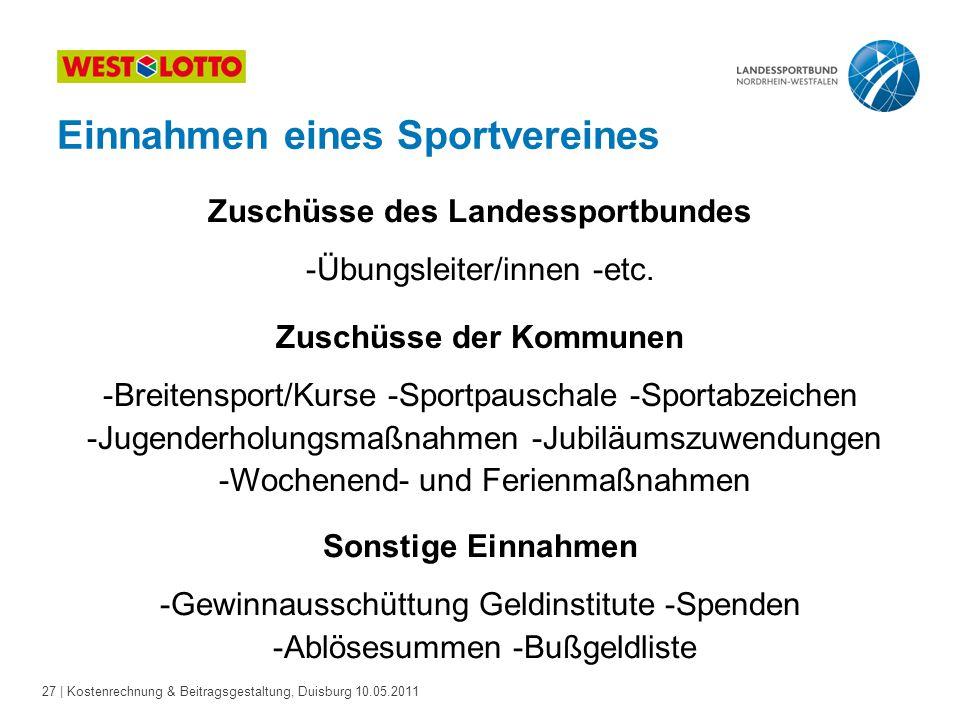 27 | Kostenrechnung & Beitragsgestaltung, Duisburg 10.05.2011 Zuschüsse des Landessportbundes -Übungsleiter/innen -etc. Sonstige Einnahmen -Gewinnauss