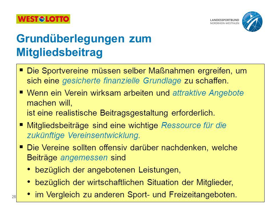 28 | Kostenrechnung & Beitragsgestaltung, Duisburg 10.05.2011  Die Sportvereine müssen selber Maßnahmen ergreifen, um sich eine gesicherte finanzielle Grundlage zu schaffen.