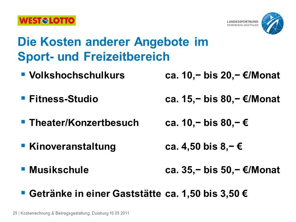 29 | Kostenrechnung & Beitragsgestaltung, Duisburg 10.05.2011  Volkshochschulkurs ca. 10,− bis 20,− €/Monat  Fitness-Studio ca. 15,− bis 80,− €/Mona