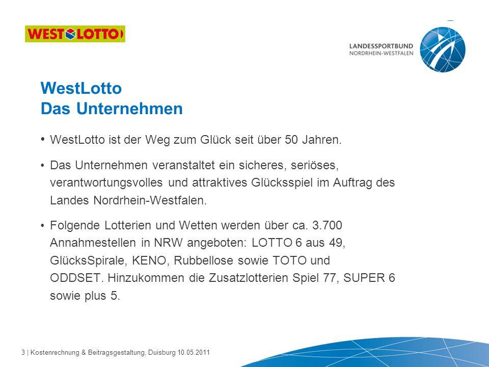 4 | Kostenrechnung & Beitragsgestaltung, Duisburg 10.05.2011 Was leistet WestLotto für den Sport.