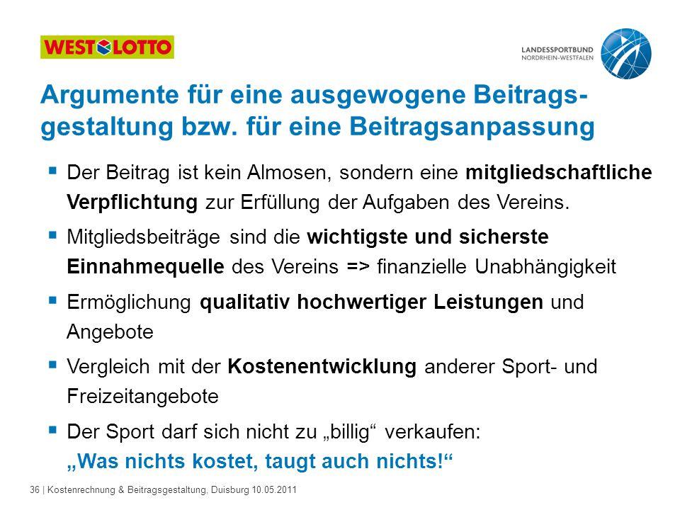 36 | Kostenrechnung & Beitragsgestaltung, Duisburg 10.05.2011  Der Beitrag ist kein Almosen, sondern eine mitgliedschaftliche Verpflichtung zur Erfüllung der Aufgaben des Vereins.