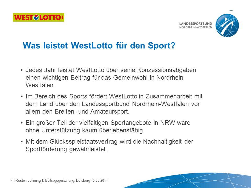 4 | Kostenrechnung & Beitragsgestaltung, Duisburg 10.05.2011 Was leistet WestLotto für den Sport? Jedes Jahr leistet WestLotto über seine Konzessionsa