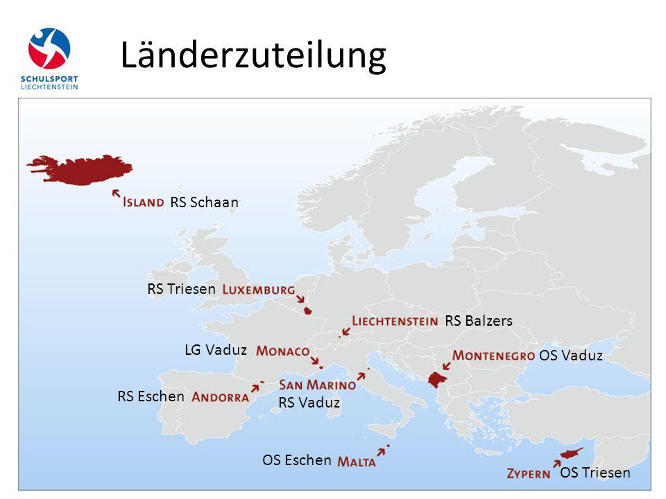 Länderzuteilung RS Schaan RS Vaduz LG Vaduz RS Triesen RS Eschen OS Eschen OS Vaduz RS Balzers OS Triesen